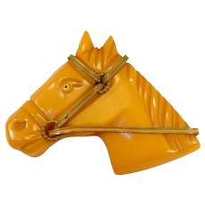 Vintage Butterscotch Bakelite Horse Pin With Bridle