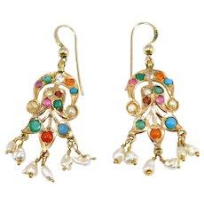 Beautiful Seed Pearl And Natural Gemstone Drop Earrings Estate
