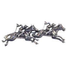 Vintage Sterling Marcasite Double Jockey Racehorse Pin