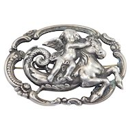 Antique Ornate Silver Angel Riding Seahorse Mythical Brooch