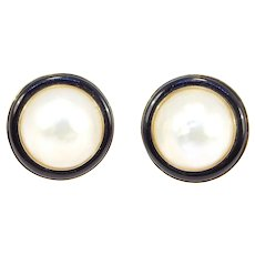 14k Black Onyx Mabe Pearl Fine Estate Earrings