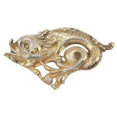14k Art Nouveau Dolphin Brooch Repousse 14 Grams