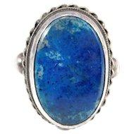 Art Deco Silver Sodalite Agate Ring Beautiful