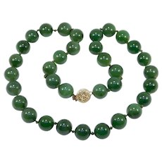 9mm Natural Spinach Jade Beads Necklace 16 Inches Estate 14k