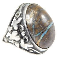 Arts & Crafts Boulder Opal Ring Sterling c. 1900 Fabulous