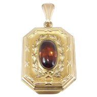 Antique Gold Filled Ornate Victorian Locket With Stone