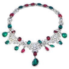 Gorgeous Tiered Vintage Rhinestone Ruby Emerald Tones 1930's Collar