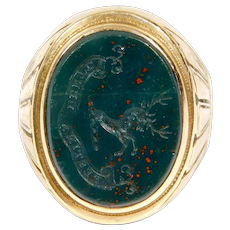 Victorian Bloodstone Seal Crest Intaglio Ring 10k Swift Family