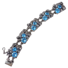 Sterling Hobe Bracelet With Beautiful Blue Crystals