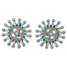 Sterling Petit Point Southwest Turquoise Screwback Earrings