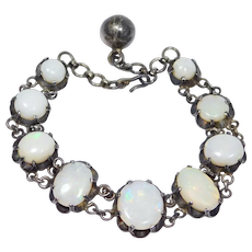 Beautiful Silver Bracelet With Large Natural Opals