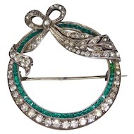 Beautiful Sterling Art Deco Paste Bow Brooch With Emerald Crystals