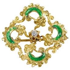 Victorian 14k Mine Cut Diamond Watch Locket Pin With Enamel