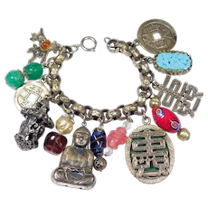 50's Chunky Asian Themed Bracelet Charms Attributed To Napier