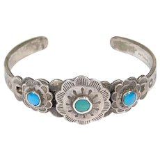 Older Navajo Turquoise Stamped Cuff By Fletcher