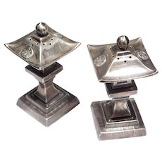 Pair Japanese Silver Pagoda Salt Pepper Shakers Vintage