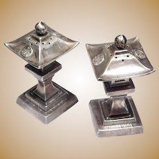 Pair Japanese Silver Pagoda Salt Pepper Shakers Vintage