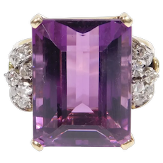 Retro 18k 13 Carat Amethyst And Diamonds Ring Beautiful