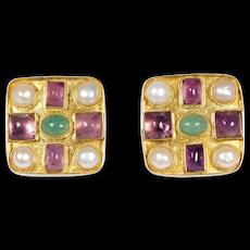 Vermeil Gemstone Earrings Amethyst Aventurine And Pearl