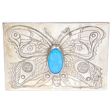Gorgeous Nouveau Inspired Artisan Sterling Turquoise Butterfly Buckle