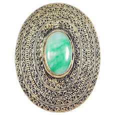 Antique Chinese Silver Jade Clip Ornate Work