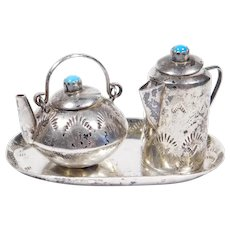 Navajo Sterling Tea Kettle Miniature With Tray By Whitman