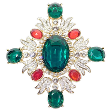 Stunning Large Multi Color Stone Set Kenneth Lane Pendant Brooch