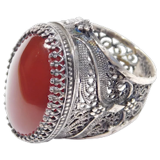 Very Ornate Large Filigree Ethnic Silver Ring Carnelian Agate