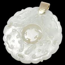Fabulous Antique Carved White Jade Pendant 14k Bale Moveable Center