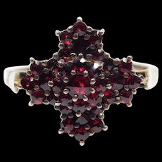 Beautiful Vermeil Rose Cut Garnet Cluster Ring Silver