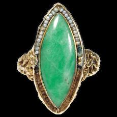 Antique 14k Ornate Jade Navette Ring Seed Pearls