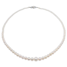 Elegant Graduated Strand Of Antique Cultured Pearls 16 Inches
