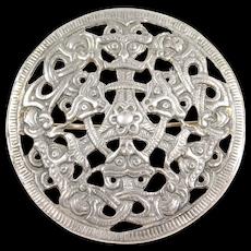 Celtic Ornate Viking Shield 925s Scandinavian Silver