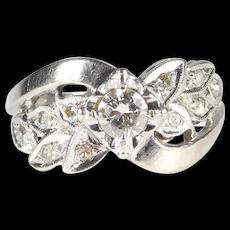 Pretty Retro 14k Diamond Ring .20 Center With Smaller Diamonds