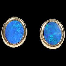 14k Estate Black Opal Doublet Earrings 585 Studs Pretty