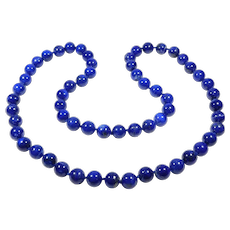 Beautiful Large 11 mm Natural Polished Lapis Beads Knotted