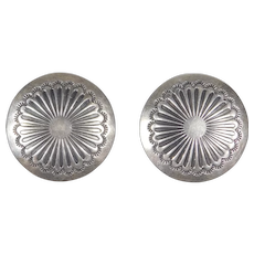 Vintage Navajo Sterling Concho Earrings Clipon