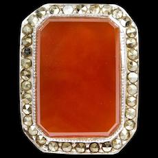 Large Sterling Carnelian Marcasite Ring Estate Vintage