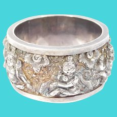 Ornate Repousse Asian Silver Figural Napkin Ring