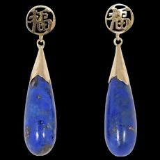 14k Estate Fine Lapis Drop Chinese Earrings Pretty