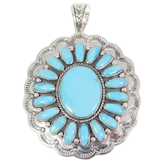 Large Southwest Turquoise Cluster Pendant Pretty Sterling