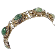Austro Hungarian Ornate Silver And Turquoise Antique Bracelet