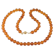 Strand Antique Natural Amber Beads 8mm 23 Grams