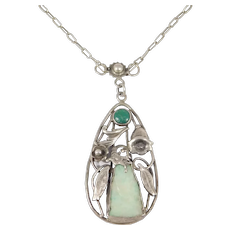 Antique Silver Jade Necklace With Buddha And Dragon