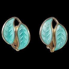 David Andersen Mint Green Leaves Earrings Norway