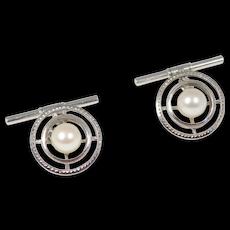Mikimoto Cultured Akoya Pearl Silver Engraved Cufflinks