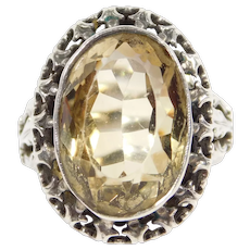 Antique Ornate French Silver Ring With Citrine Filigree