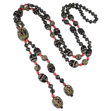 Art Deco Black And Red Czech Scarab Tassel Necklace Egyptian