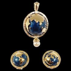 KJL Kenneth Lane Enamel World Peace Globe Pendant And Earrings