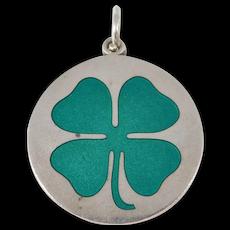 Large Enamel Deco Four Leaf Clover Sterling Charm Pendant